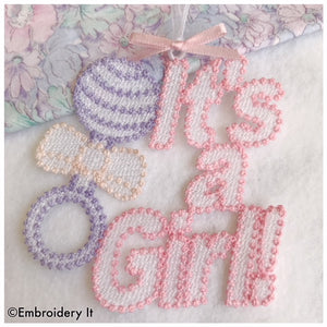 It's a girl Free Standing Lace tag