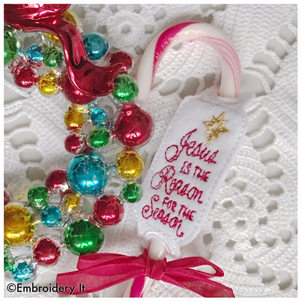machine embroidery design in the hoop Christmas candy cane holder