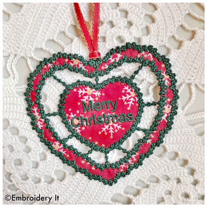 Christmas cutwork machine embroidery ornament