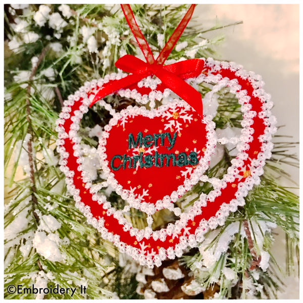 Machine embroidery cutwork Christmas ornament design