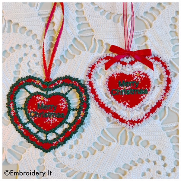 Cut work machine embroidery Christmas gift tag