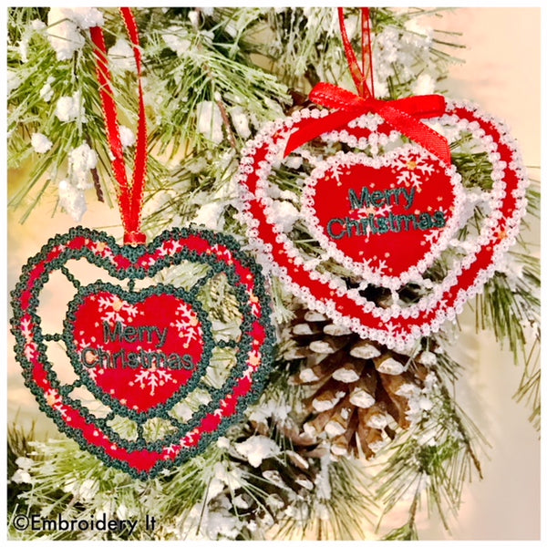 Cut work machine embroidery Christmas ornament