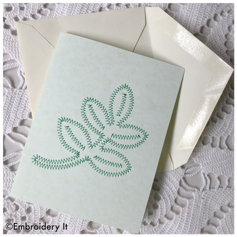 Machine embroidery leaf card