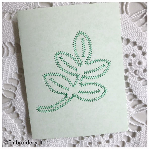 Leaf card machine embroidery design stitched on paper