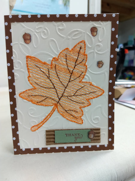 mylar embroidery maple leaf card design