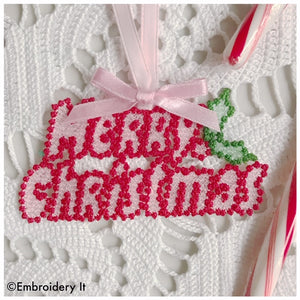 Merry Christmas free standing lace machine embroidery design