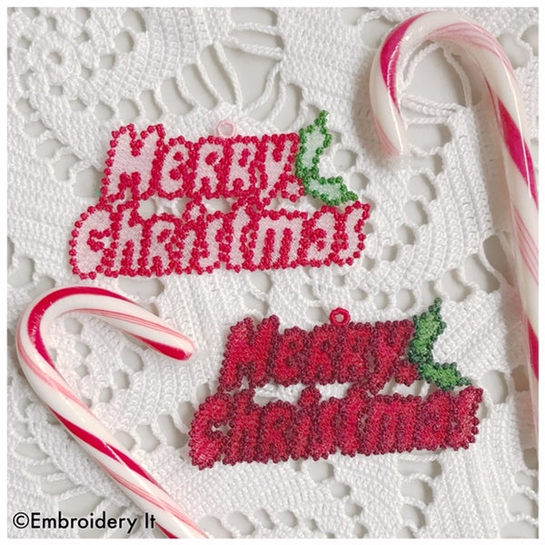 Merry Christmas FSL Machine embroidery design