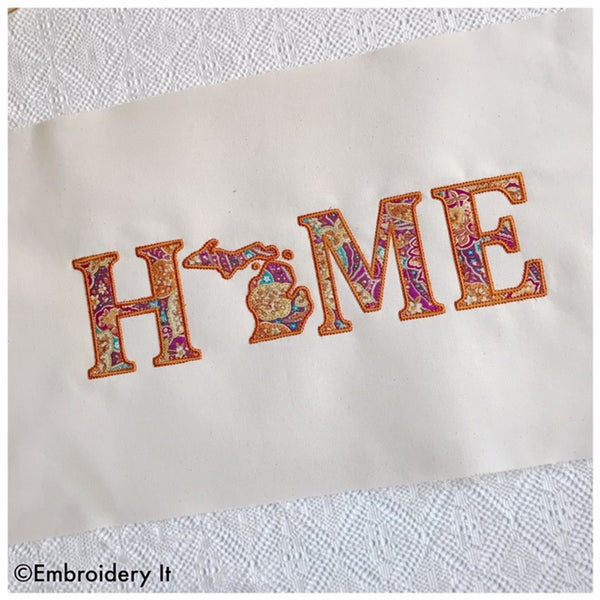 Michigan is my Home machine embroidery applique design