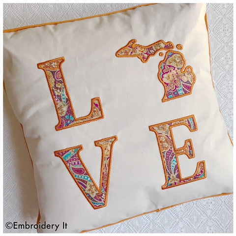 Michigan LOVE machine embroidery applique design