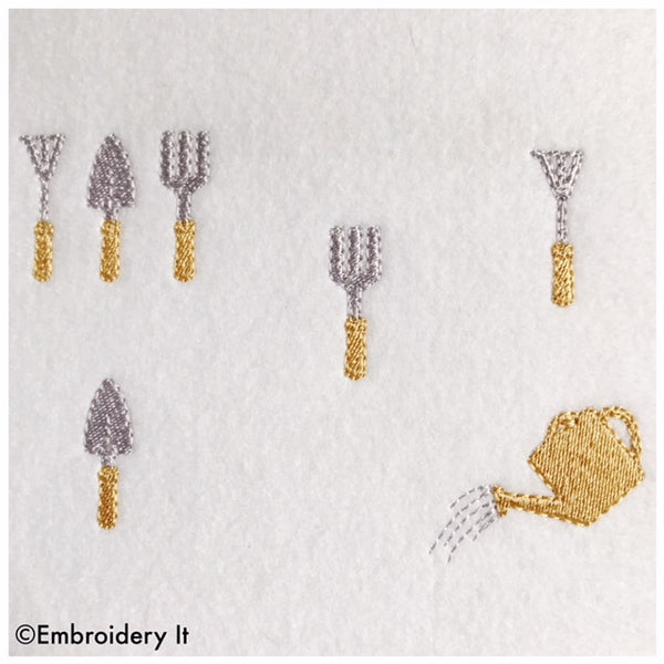 Machine embroidery miniature gardening designs