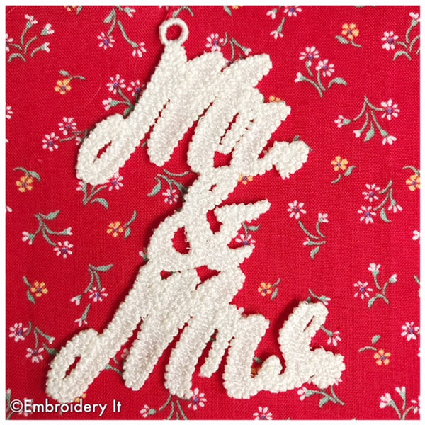 Mr and Mrs. Free Standing Lace Gift Tag or Christmas Ornament