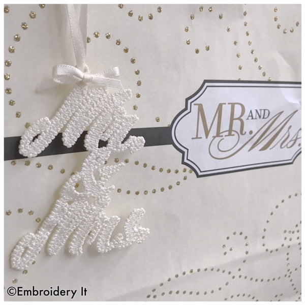 FSL machine embroidery Mr. and Mrs. Gift Tag