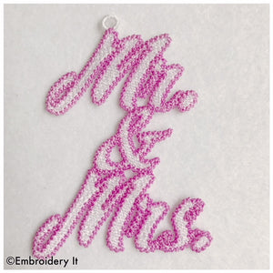 Mr. and Mrs. Free Standing Lace tag