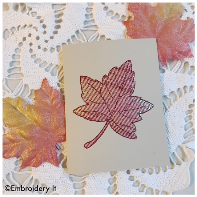 Mylar maple leaf card machine embroidery design