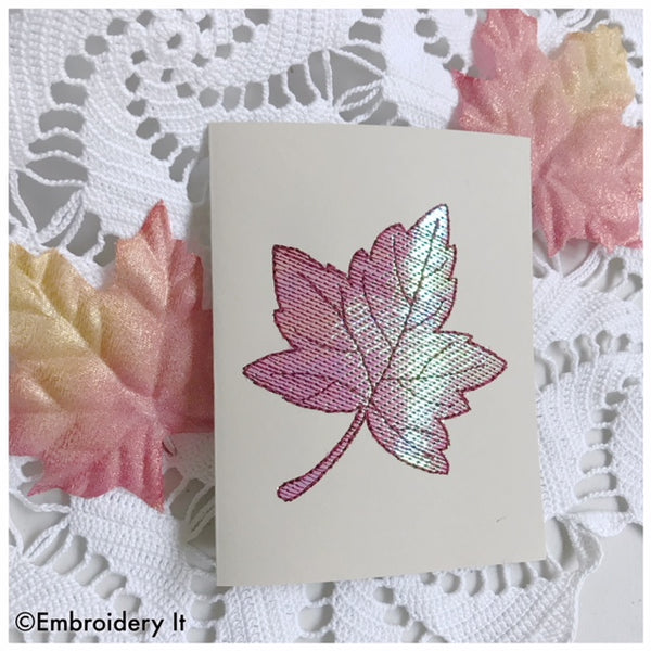 machine embroidery mylar maple leaf card