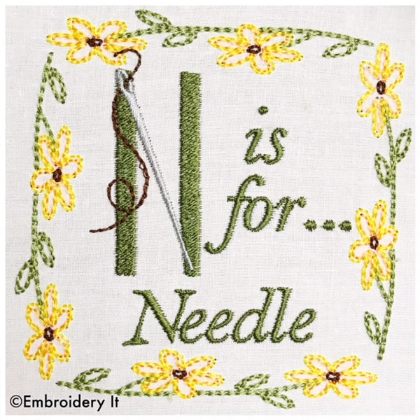Embroidery words N is for needle machine embroidery design