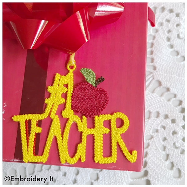number 1 teacher machine embroidery freestanding lace tag