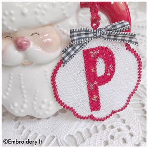 Freestanding lace applique monogram Christmas Ornament and gift tag