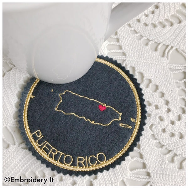 Machine embroidery Puerto Rico in the hoop coaster