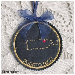 Puerto Rico Map Machine embroidery design