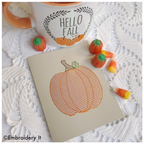 Machine embroidery mylar pumpkin card