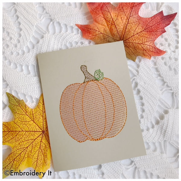Halloween pumpkin machine embroidery card with mylar