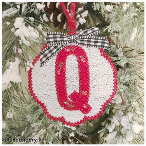 Applique monogram gift tag and Christmas ornament with Free standing lace design