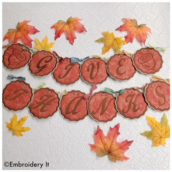 Machine embroidery acorn Thanksgiving banner design