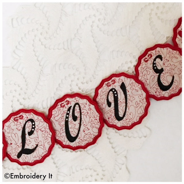 Machine embroidery in the hoop alphabet