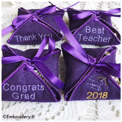 machine embroidery in the hoop graduation candy holder