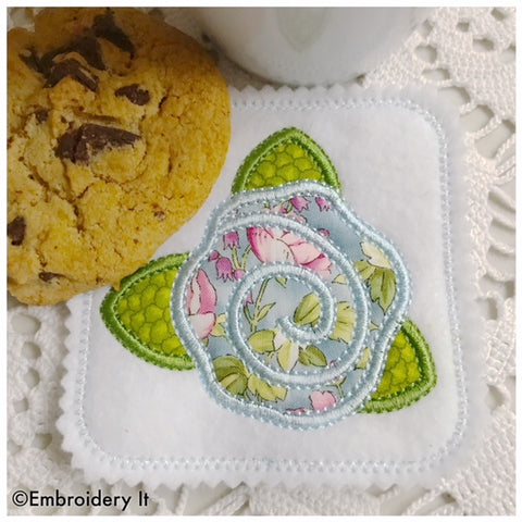 Machine embroidery simple applique flower coaster