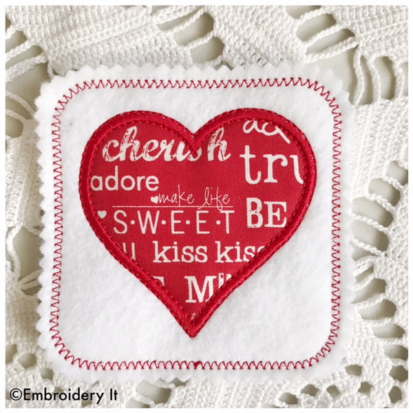 machine embroidery applique heart coaster or tag