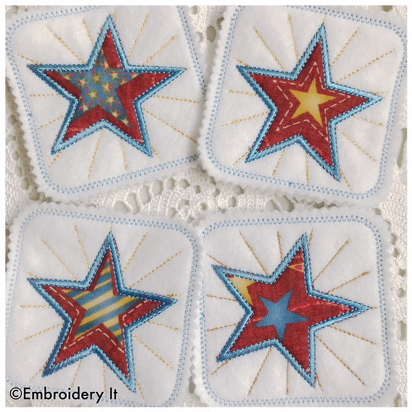 machine embroidery in the hoop applique star coaster