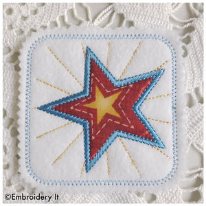Applique star coaster machine embroidery design