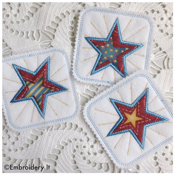 star coaster applique machine embroidery pattern