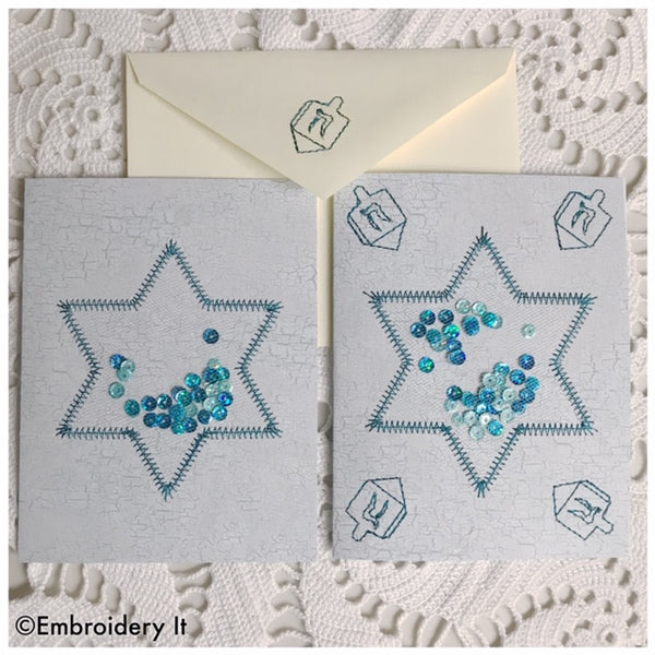 Machine embroidery on paper Hanukkah Star of David