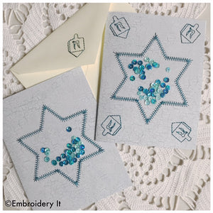 Machine embroidery shaker card Star of David design
