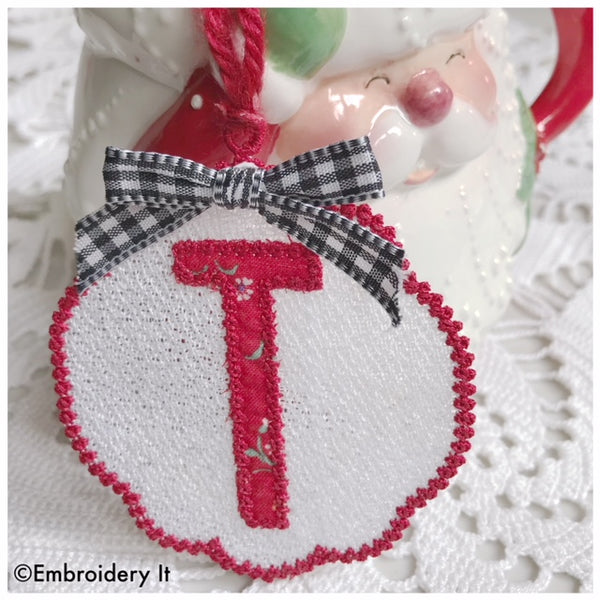 Machine embroidery monogram tag letter T