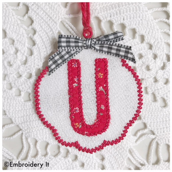 Letter U Freestanding lace machine embroidery design