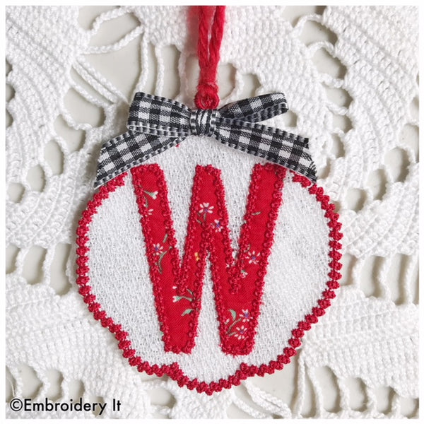 machine embroidery monogram gift tag and Christmas ornament