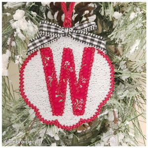 FSL Christmas ornament and gift tag with monogram letter W