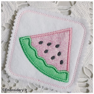 machine embroidery watermelon coaster design