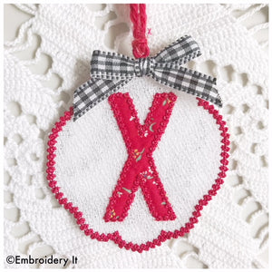 Machine embroidery free standing lace letter X Christmas ornament