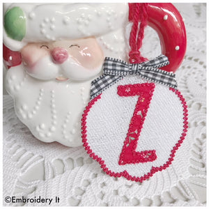 Free standing lace Christmas ornament with monogram alphabet