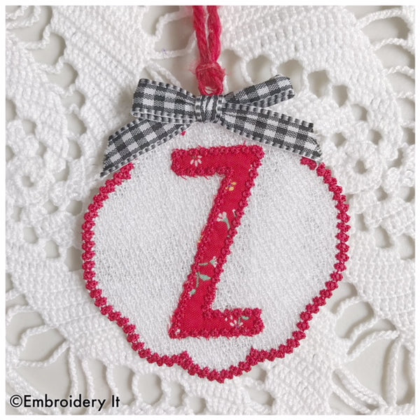 Gift tag machine embroidery monogram design