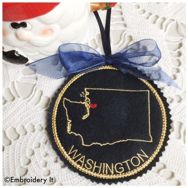 Washing state Christmas ornament machine embroidery in the hoop pattern
