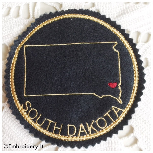 South Dakota machine embroidery coaster pattern in the hoop