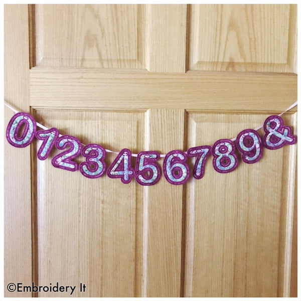 machine embroidery number banner set