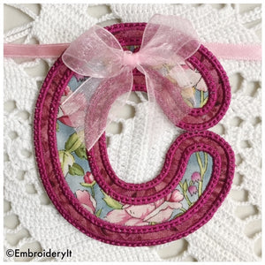 machine embroidery applique bunting design