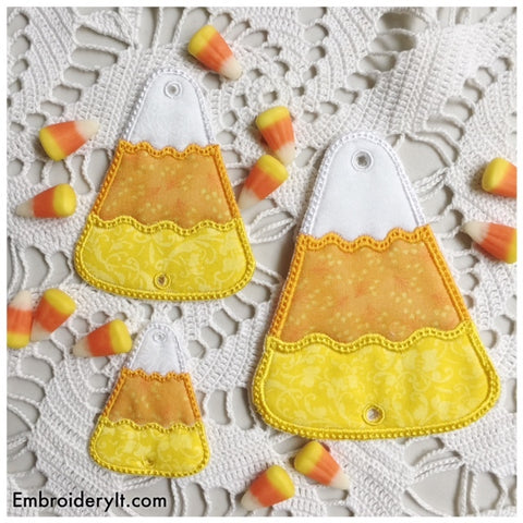 Machine embroidery applique candy corn